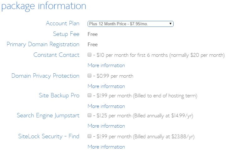 Bluehost Package Information