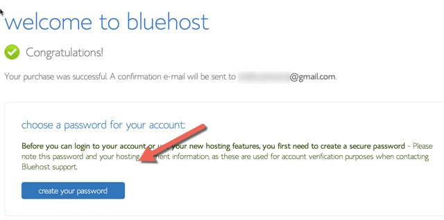 Bluehost Hosting Purchase Confirmed