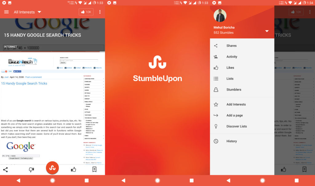 StumbledUpon - Best Apps for Android