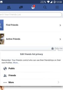 Facebook Friend List on Mobile