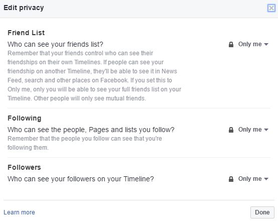 Facebook Friends List Privacy Options