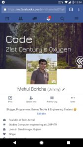 Facebook Profile Mobile View