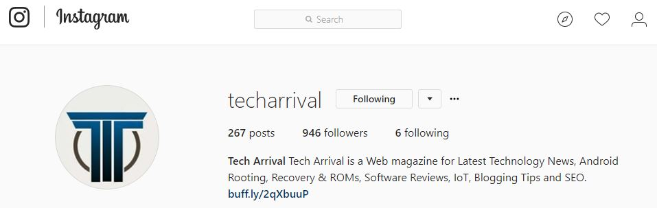 Tech Arrival Instagram Profile