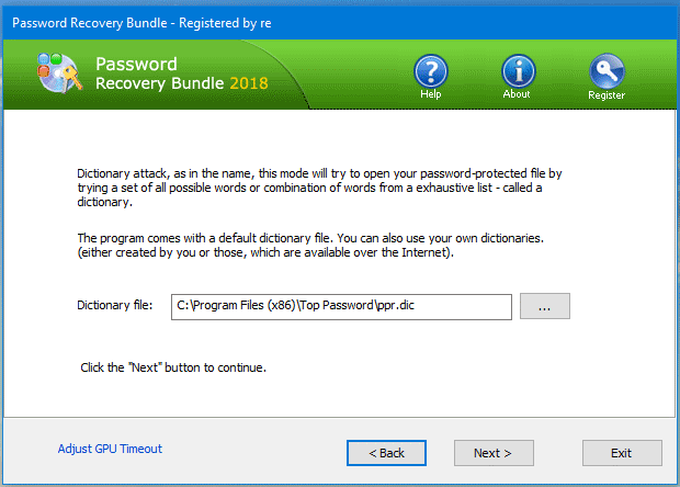 Password Recovery Bundle - Dictionary Attack