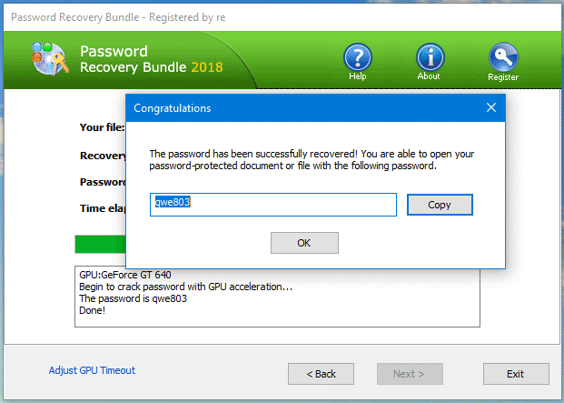 Password Recovery Bundle - Password Crack Successful