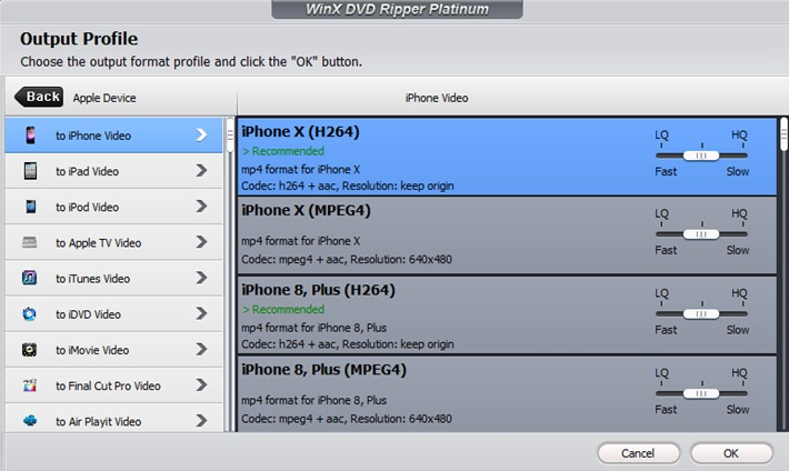 WinX DVD Ripper Platinum - Select Output Profile