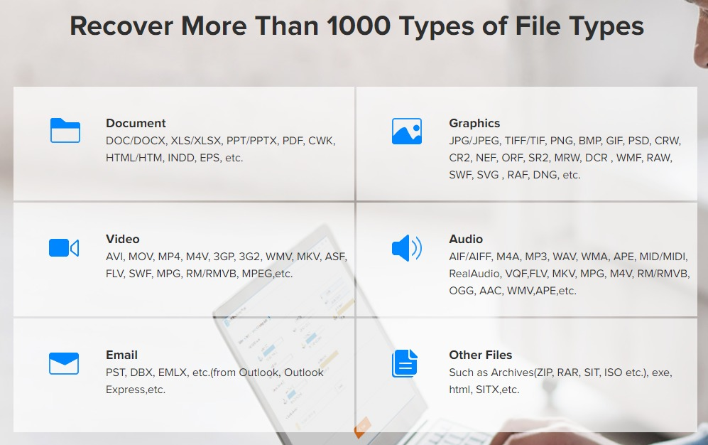 EaseUS Data Recovery Wizard Supported File Types