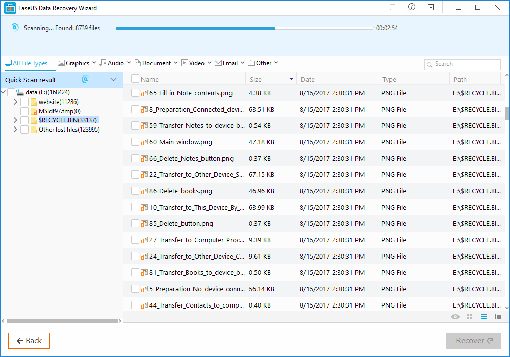 EaseUS Data Recovery Software - Quick Scan Result
