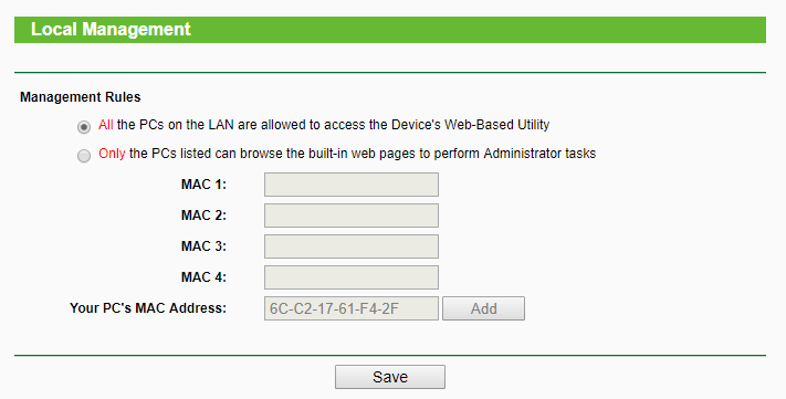 WiFi Router Local Management Rules