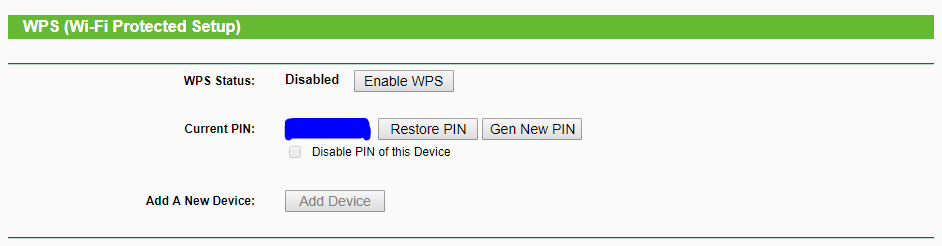 WiFi Router WPS Settings