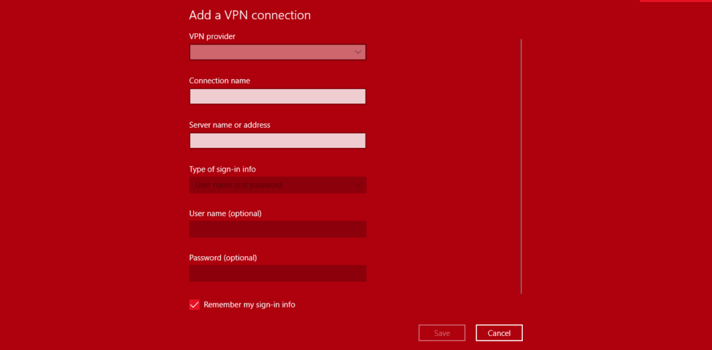 Add VPN Windows 10