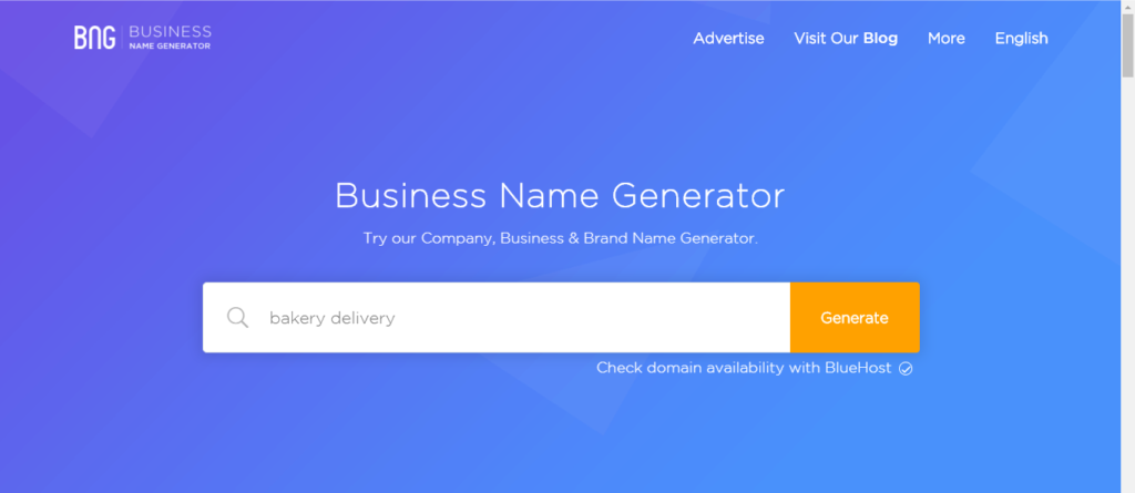 Business Name Generator Homepage