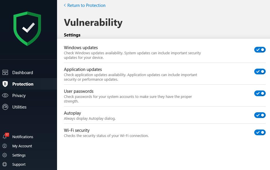 Bitdefender Vulnerability Settings