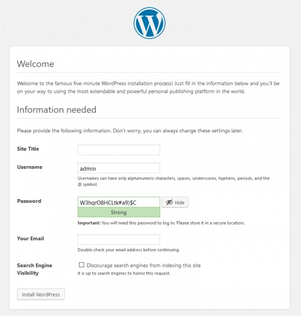 WordPress Installation 2
