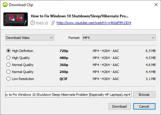4K Video Downloader - Select Format and Quality