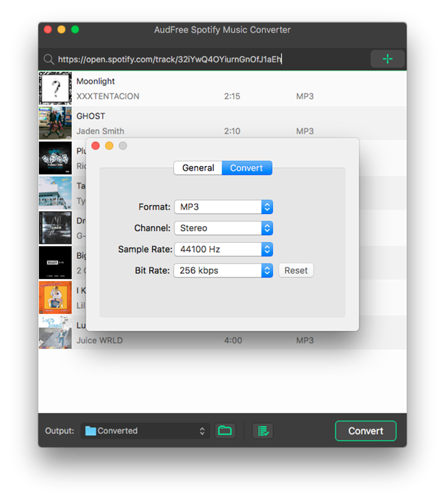 Audfree Mac Spotify Music Converter Choose Format