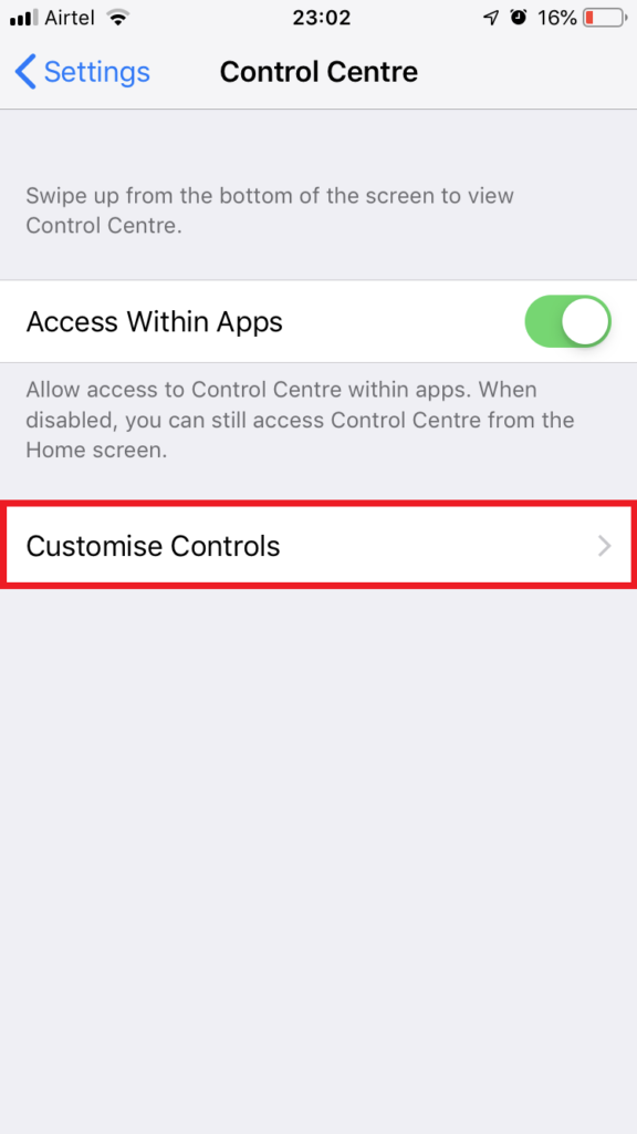 iPhone Settings - Control Center
