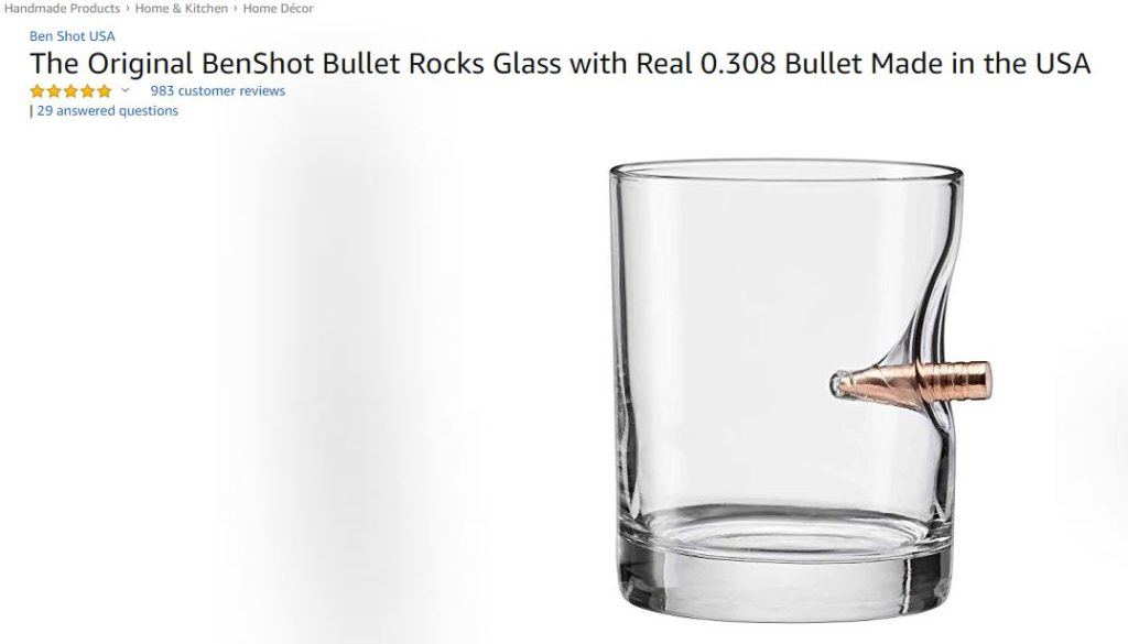 BenShot Bullet Rocks Glass