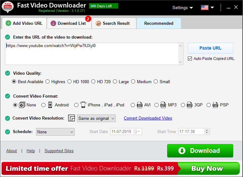 Fast Video Downloader - Add Video URL