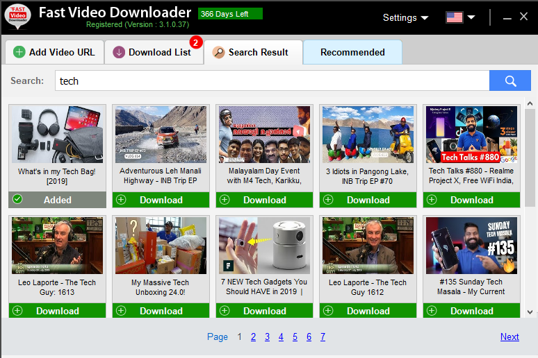 Fast Video Downloader - Search Result