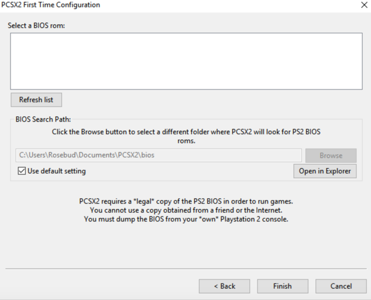 PCSX2 First Time Configuration