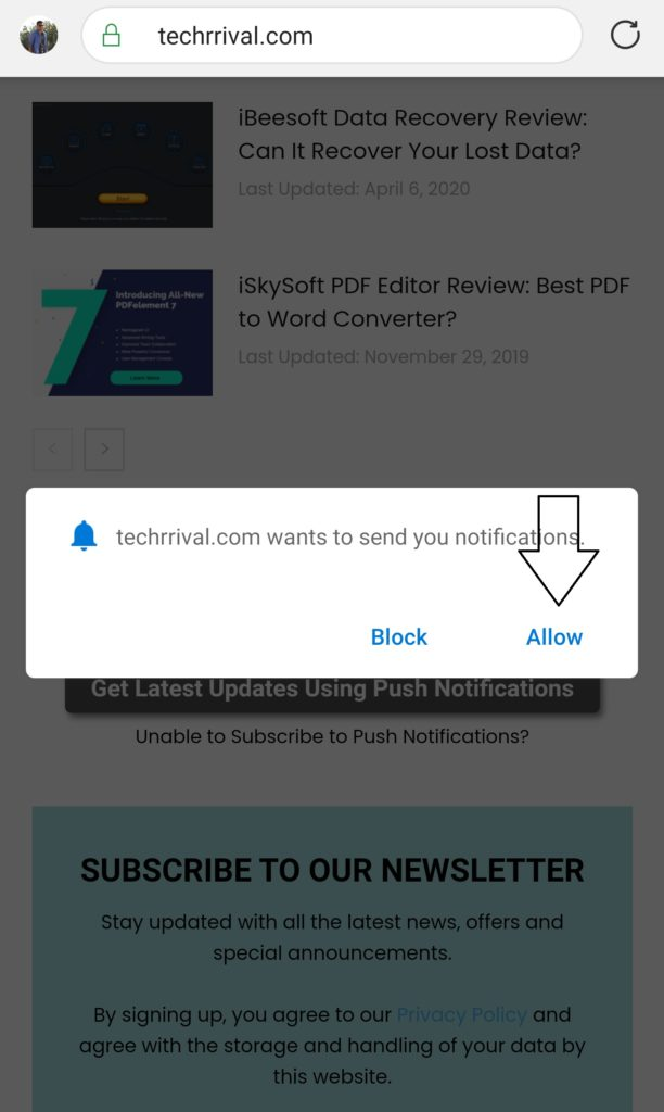 Allow Notifications Android Tech Arrival