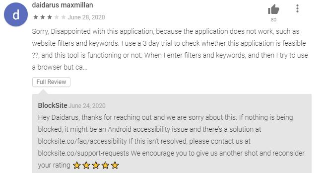 Blocksite User Review Google Play Store
