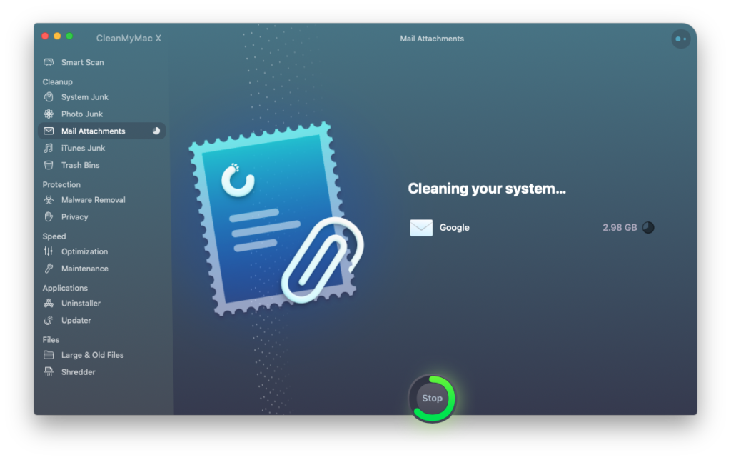 CleanMyMac X Mail Cleanup in Progress