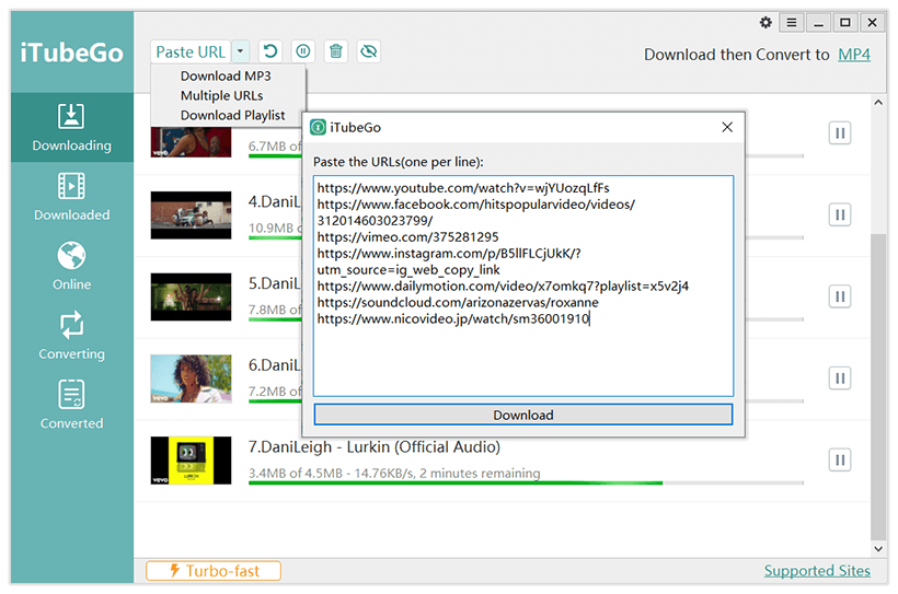 iTubeGo YouTube Downloader - Multiple Downloads