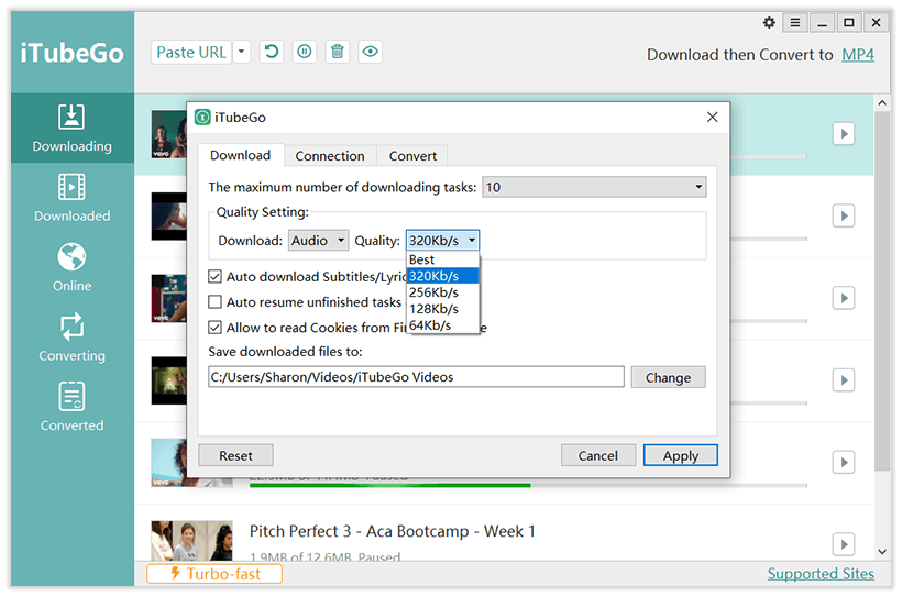 iTubeGo YouTube Downloader - Quality Settings