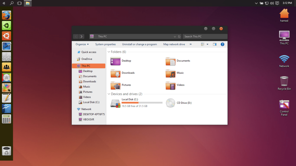Windows 10 Ubuntu Skin