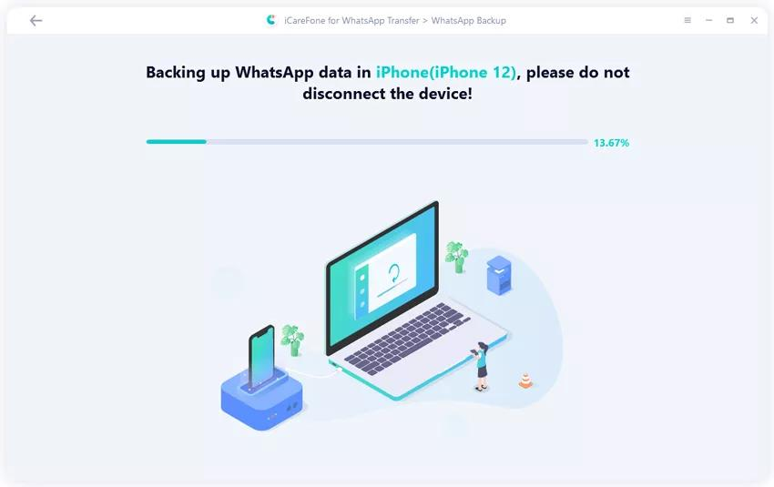 Tenorshare Icarefone For Whatsapp Transfer - Backing Up Iphone