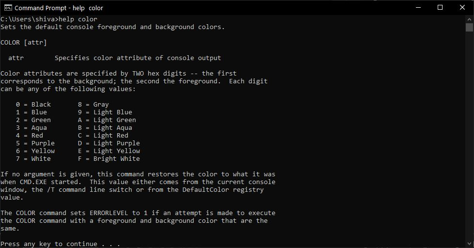 Help Color Cmd Command